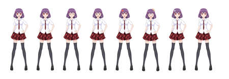 Anime manga girl, Cartoon character in Japanese style. In a white shirt, a red skirt in a cage, a tie and black stockings-tights. Set of emotions. Sprite full length character for game visual novel Ilustração