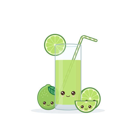 lime juice. Cute kawai smiling cartoon juice with slices in a glass with juice straw.