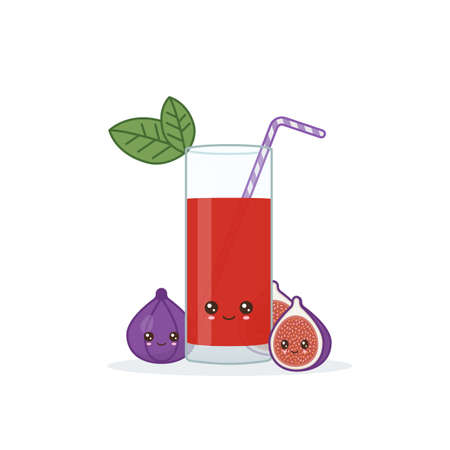 fig juice. Cute kawai smiling cartoon juice with slices in a glass with juice straw. 向量圖像