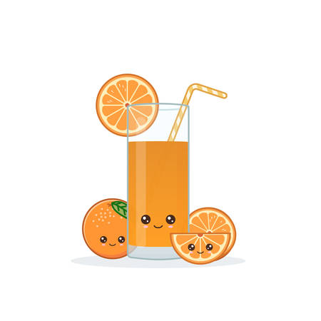 orange juice. Cute kawai smiling cartoon juice with slices in a glass with juice straw.