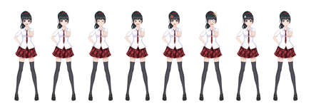 Anime manga girl, Cartoon character in Japanese style. In a white shirt, a red skirt in a cage, a tie and black stockings-tights. Set of emotions. Sprite full length character for game visual novel 向量圖像