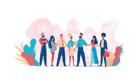 Group of business people teamwork. Businessman  and businesswoman. Business team Illustration
