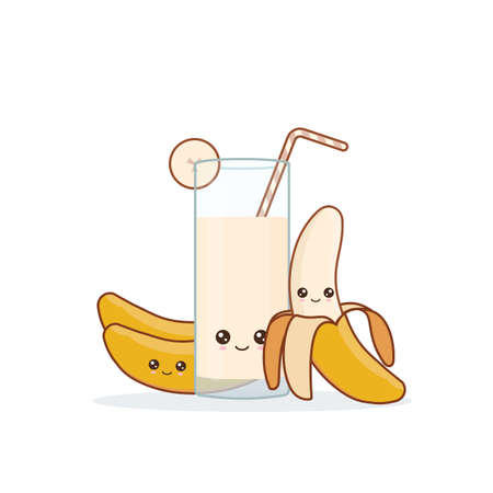 banana juice. Cute kawai smiling cartoon juice with slices in a glass with juice straw.