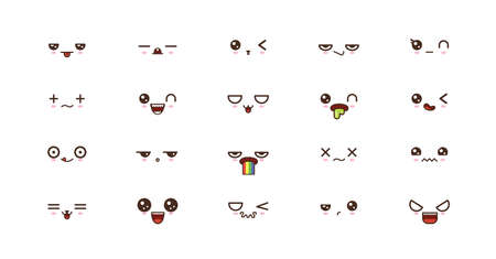 Kawaii icons faces expressions cute smile emoticons. Japanese emoji