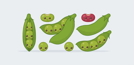 Set peas in a pod, bean. Cute kawaii smiling food. Vector illustration