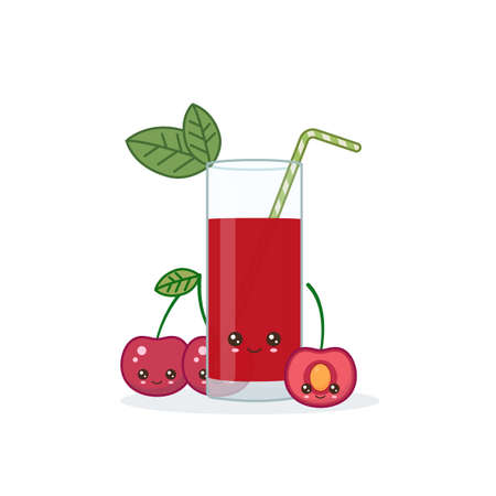 cherry juice. Cute kawai smiling cartoon juice with slices in a glass with juice straw.