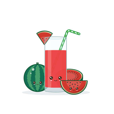 watermelon juice. Cute kawai smiling cartoon juice with slices in a glass with juice straw.