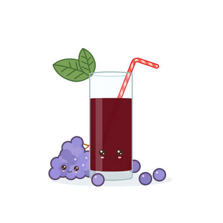 grape juice. Cute kawai smiling cartoon juice with slices in a glass with juice straw. 向量圖像
