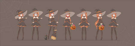 Anime manga girl cartoon characters.  Halloween black witch in various poses with pumpkin, candy, broom, cat