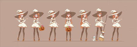 Anime manga girl cartoon characters. Halloween white witch in various poses with pumpkin, candy, broom, cat