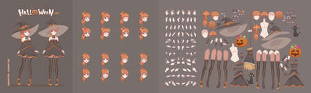 Anime manga girl cartoon characters for animation, motion design. The initial default pose. Parts of the body, eight emotions, many parts of hands. Halloween black witch animation kit