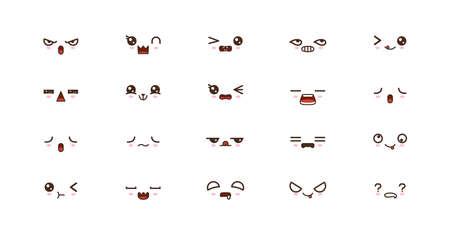 Kawaii smile emoticons. Japanese emoji. set icon 向量圖像