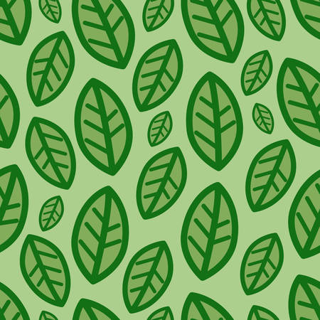 Green leaves at green background vector pattern
