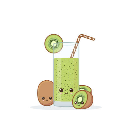 Cute kawai smiling cartoon kiwi juice. Vector