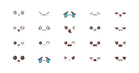 icons faces expressions cute smile emoticons. Japanese emoji