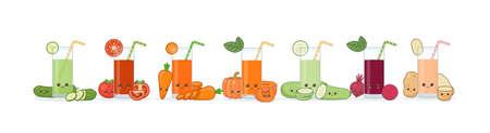 Cute smiling cartoon vegetable juice. Vector Illustration