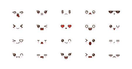 Kawaii cute faces smile emoticons. Japanese emoji