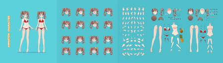 Anime manga girl cartoon characters for animation, motion design. The initial default pose. Parts of the body, eight emotions, many parts of hands. Bikini swimsuit animation kit