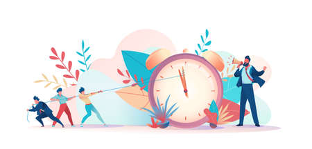 Angry boss yells into megaphone. People are trying to regain time. Deadline metaphor. Concept struggling with project deadline, working time management. Vector flat illustration
