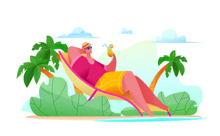 Joyful tourist man is lying on beach by sea with glass of orange juice. Abstract palm trees with vegetation. Metaphor of happy life. concept of relaxation in warm countries. Vector flat illustration
