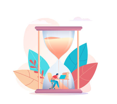 Programmer businessman working at computer in an hourglass. Sand is pouring on worker. Metaphor of time management. concept of multitasking, performance, deadline. Vector flat illustration 向量圖像