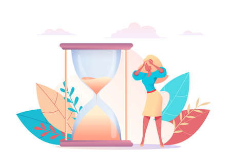 bewildered business lady hold on to her head in horror. Sand is pouring of hourglass. Metaphor of time management. concept of multitasking, performance, deadline. Vector flat illustratio