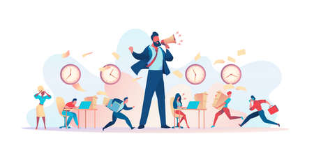 Huge angry boss yells into loudspeaker. Clutter in office, papers fly. Deadline Disruption Metaphor. Concept struggling with project deadline, working time management. Vector flat illustration 向量圖像
