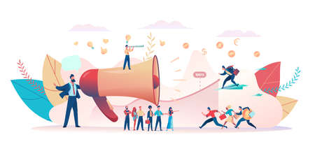 Advertiser attracts attention of business investors buyers. Team of promoters greets customers. Metaphor of advertising promotion. Concept of teamwork, cooperation marketing. Vector flat illustration