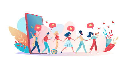 Friends hold hands, go out of a huge phone. A group of people is led by a girl and speaks into a megaphone. Metaphor refer a friend. Concept referral program, landing page. Vector flat illustration.