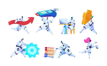 Group different robots on isolated white background. With terminal of payment, moves technology, accepts order and delivers goods. Metaphor of AI, androids bots in business. Vector flat illustration