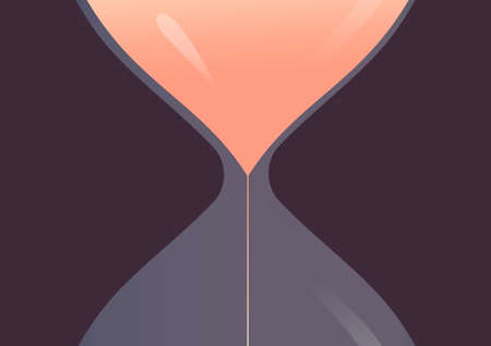 Large hourglass against a dark background. The metaphor of the beginning of the countdown. Time management, deadline. Vector illustration