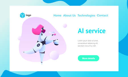 Robot girl flying gait carries a cup of coffee with a teapot. Metaphor of AI and bots in the service sector. The concept of smart secretary. Vector flat illustration.