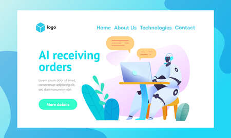 Sits at computer with microphone, answers orders and communicates in chat Web page template. Metaphor of AI bots in communication Concept of smart order taking using chat bots Vector flat illustration
