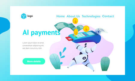 Android robot runs holding terminal with sticky check for payment by credit card. Web page template. Metaphor of AI and bots in marketing. Concept of smart payment acceptance. Vector flat illustration