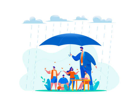 Big CEO boss hold huge umbrella in rain. metaphor of office people under protection of leader. concept of safety at work, caring, relaxed atmosphere, benefits for staff. Flat vector illustration