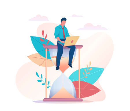 A businessman is sitting on an hourglass with laptop. Time management metaphor. concept of multitasking productivity, deadline. Vector flat illustration