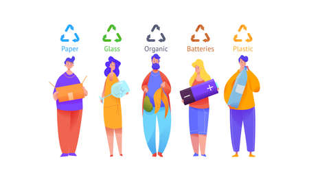 Group of people sort trash in multi-colored bins. Men and women are holding huge objects in their hands. Metaphor separate garbage collection. Flat vector illustration on isolated background