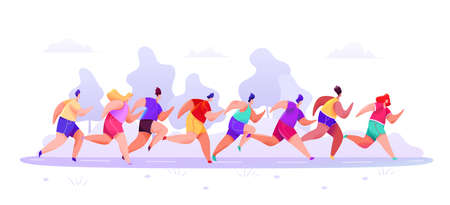People in sportswear shorts and t-shirt are running marathon along road on an abstract forest background. Vector illustration Stock Illustratie
