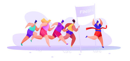 People in sportswear shorts and t-shirt finish marathon on an abstract background. Vector illustration Stock Illustratie