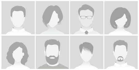 Default Placeholder Avatar Profile on Gray Background. Man and Woman