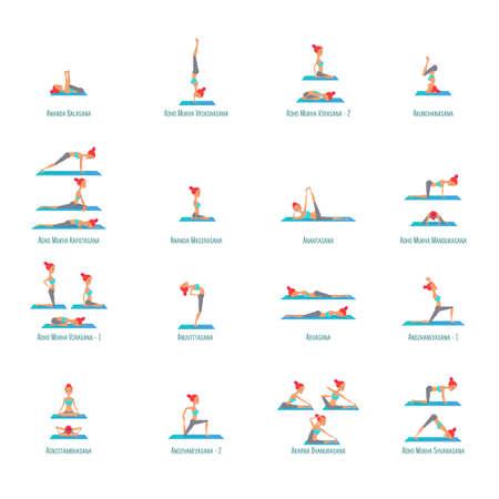 Set of poses yoga girls asanas. Vector illustration on isolated white background
