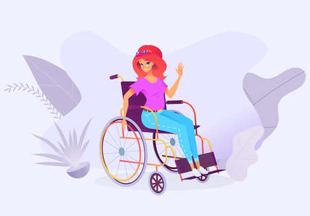 Young beautiful girl in jeans and a t-shirt on a wheelchair smiles and waving hand. Woman in casual wear. Bright vector illustration on abstract background. Stock Illustratie