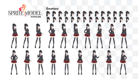 Anime manga girl, Cartoon character in Japanese style. In a white shirt, a red skirt in a cage, a tie and black stockings-tights. Set of emotions. Sprite full length character for game visual novel Stock Illustratie