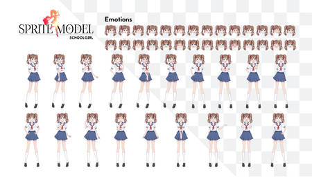 Anime manga girl, Cartoon character in Japanese style.School girl in a sailor suit, blue skirt.Set of emotions.Sprite full length character for game visual novel Stock Illustratie