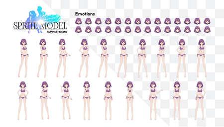 Anime manga girl, Cartoon character in Japanese style.