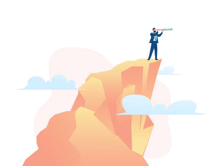 Businessmen behind clouds stand on stairs and look into distance through shameful pipe. Business opportunity search metaphor. Development concept, investment search. Vector flat illustration