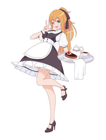 Anime manga girl dressed as a maid. Waitress with a tray of sweets. Vector illustration