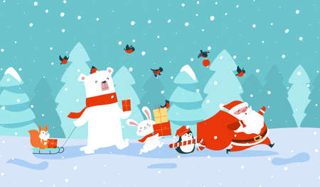 New Year card. Santa claus with forest animals carrying gifts