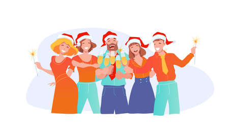 Joyful business people in santa claus hats celebrate new year and christmas. Office fun. Clinking glasses