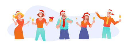 Joyful business people in santa claus hats celebrate new year and christmas. Office fun